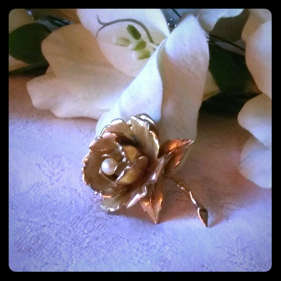 Boucher Rose Flower Gold Plate Brooch with Genuine Pearl Vintage Pin
